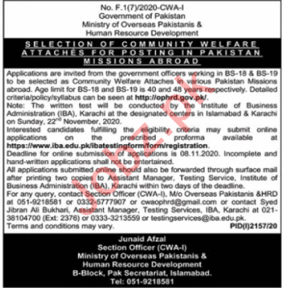 Ministry of Overseas Pakistanis Islamabad Jobs for Attaches