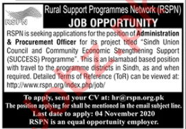Rural Support Programmes Network RSPN Islamabad Jobs 2020