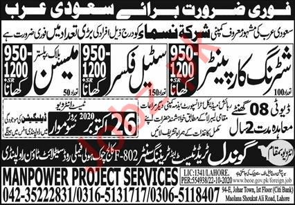 Shuttering Carpenter & Steel Fixer Jobs 2020 in Saudi Arabia