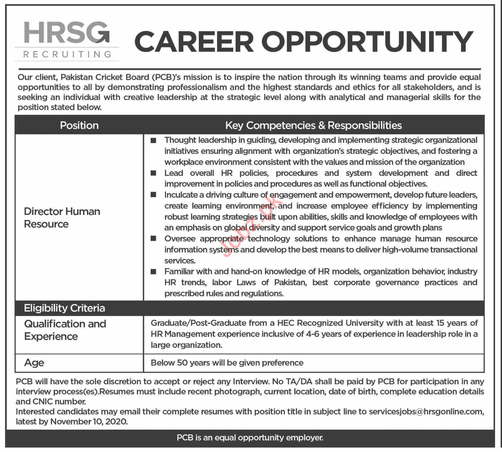 Pakistan Cricket Board PCB Jobs 2020 for Director HR