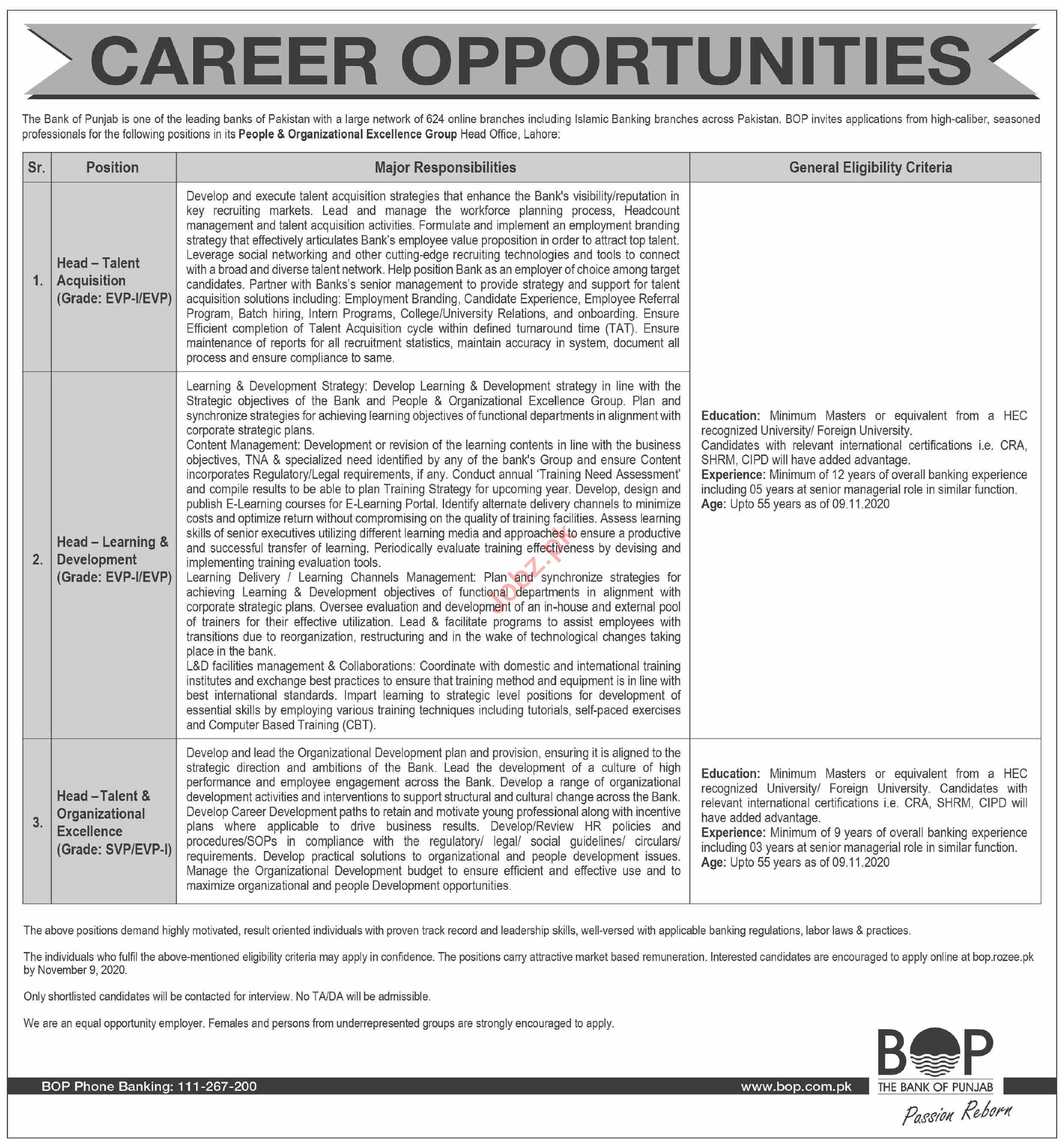 Bank of Punjab BOK Jobs 2020 for Head Talent Acquisition