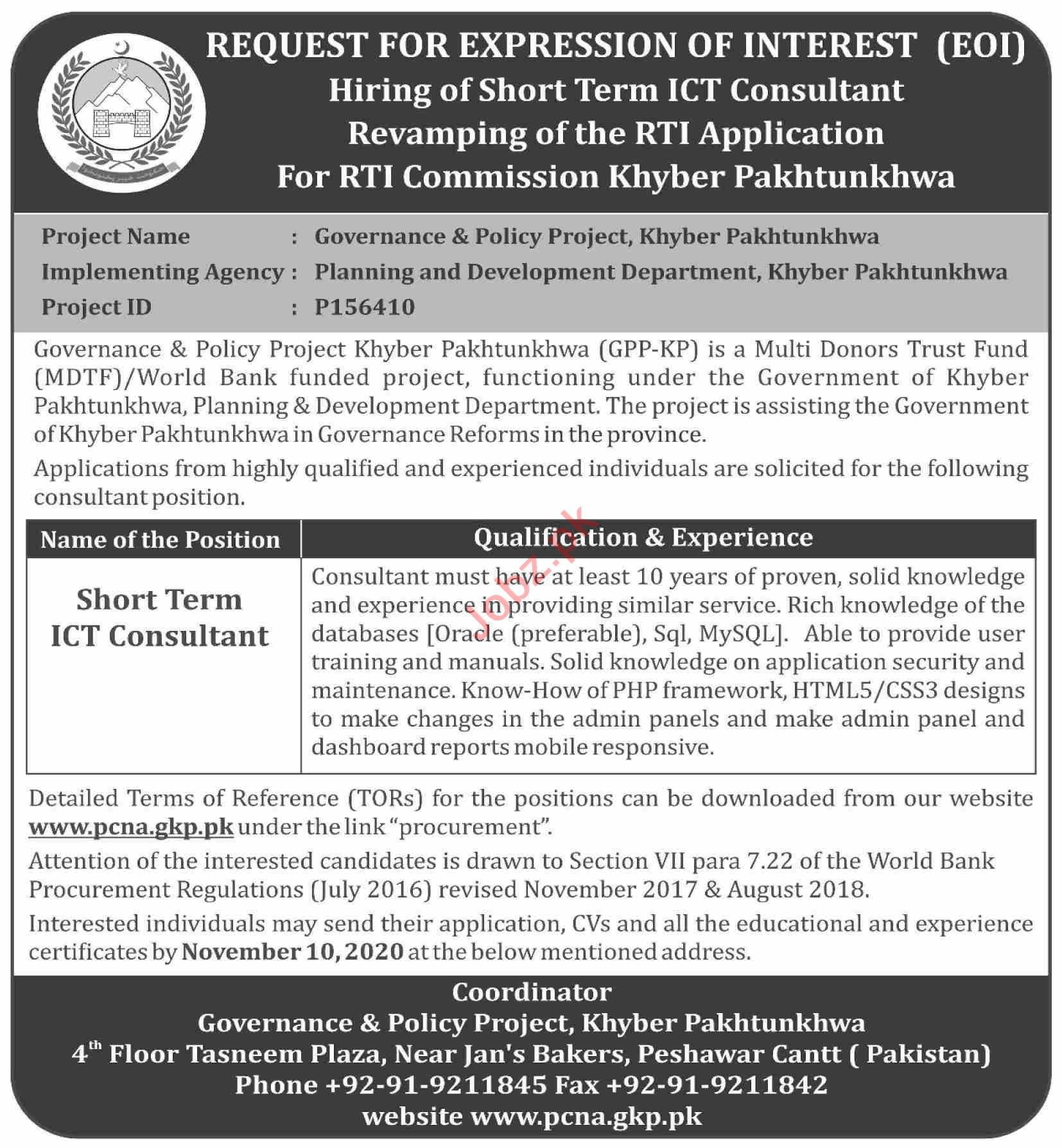 Post Crises Need Assessment PCNA Jobs 2020 for Consultant