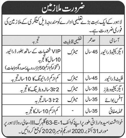 Educational Institute Jobs 2020 in Lahore