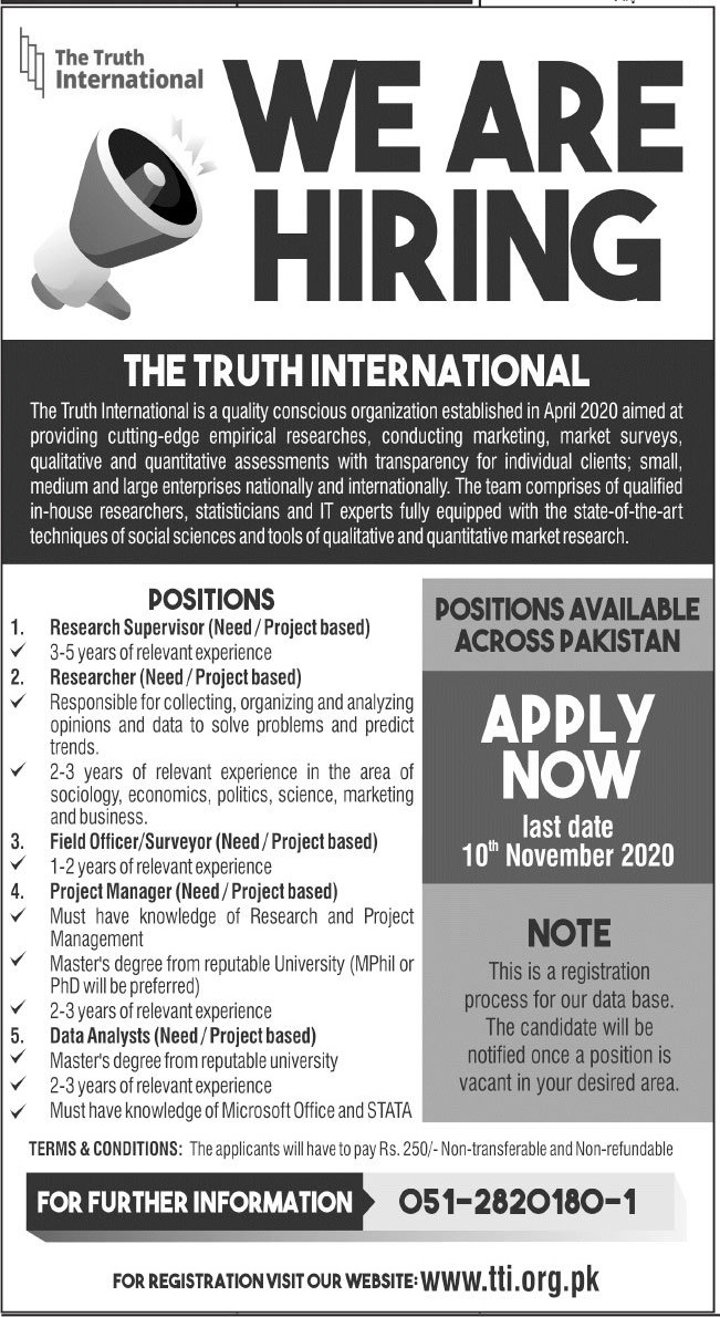 The Truth International Jobs 2020 in Islamabad