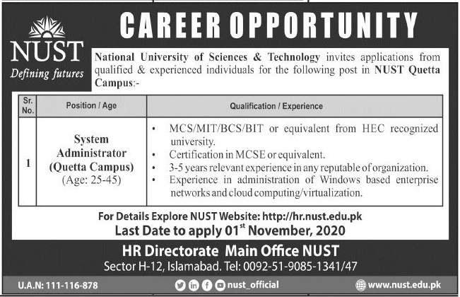 National University of Science and Technology Jobs 2020