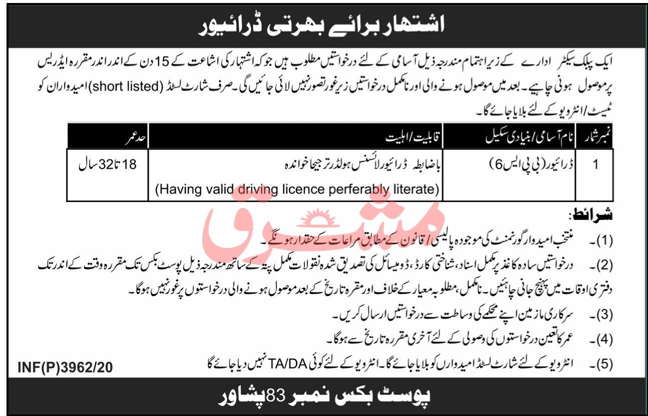 Public Sector Organization Jobs 2020 in Peshawar KPK