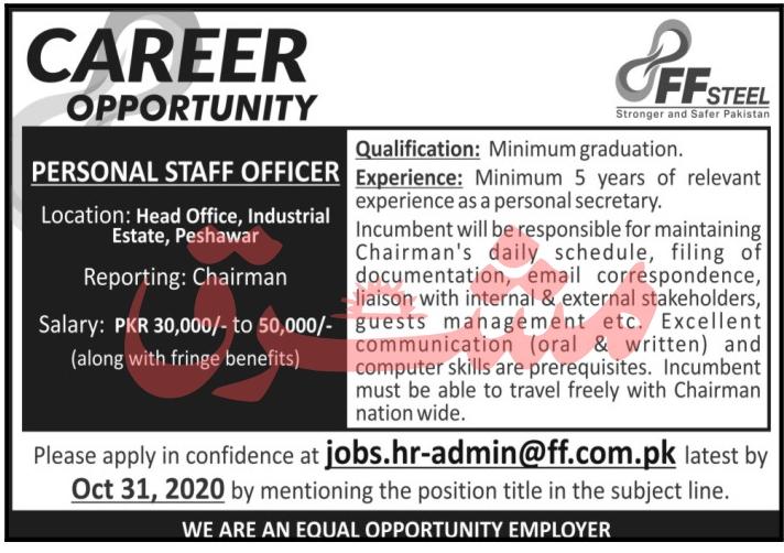 Personal Staff Officer Job 2020 in Peshawar KPK