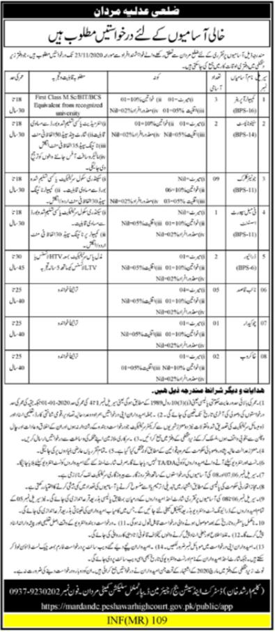 Peshawar High Court Jobs 2020 For Management Staff in Mardan