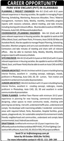 Park View Enclave Jobs 2020 For Engineering Staff