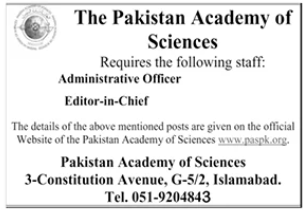 The Pakistan Academy of Sciences Jobs 2020 in Islamabad