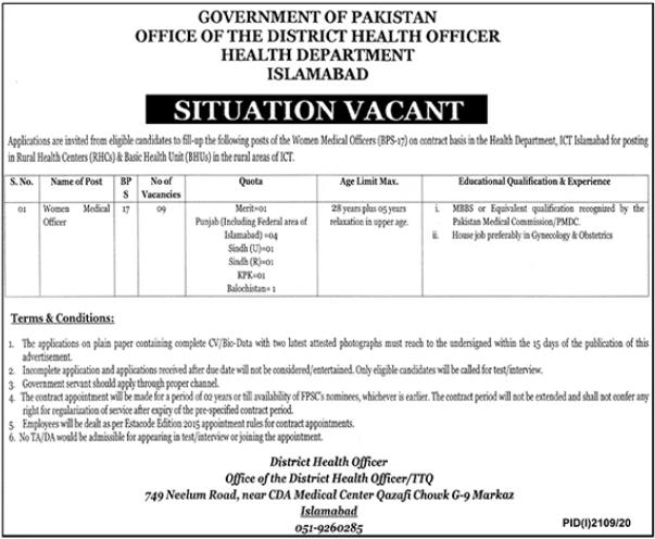 Health Department Jobs 2020 in Islamabad