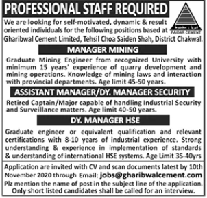 Gharibwal Cement Limited Jobs 2020 in Chakwal