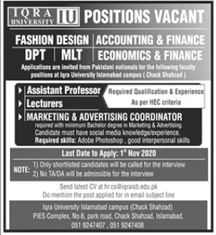 Iqra University Islamabad Campus Faculty Jobs 2020