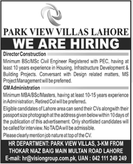 Director Construction & General Manager Admin Jobs 2020