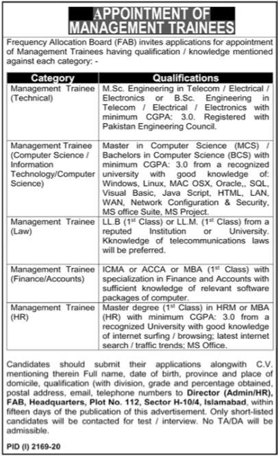 Frequency Allocation Board FAB Jobs 2020 in Islamabad