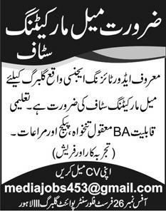Marketing Staff Job 2020 in Lahore