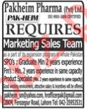 Marketing Sales Team Jobs 2020 in Pakheim Pharma Lahore
