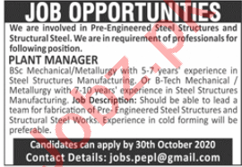 Manager & Plant Manager Jobs 2020 in Lahore