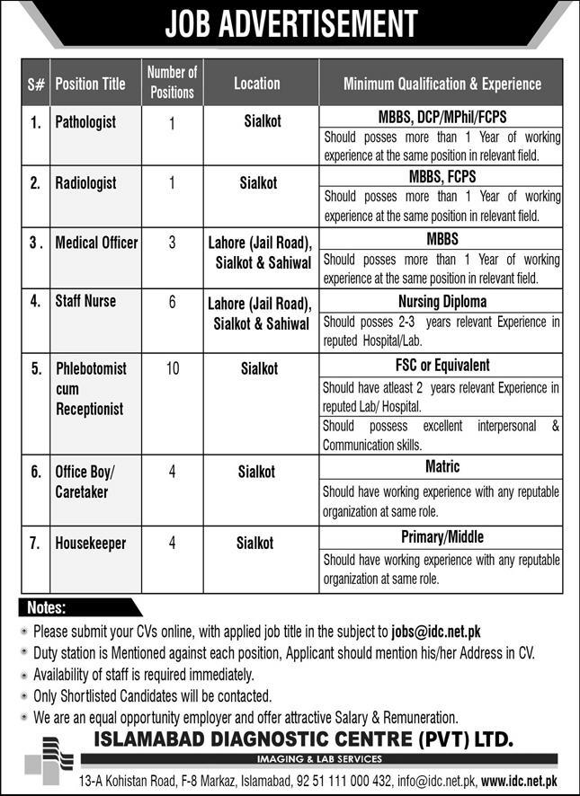 Islamabad Diagnostic Center Jobs 2020 For Medical Staff