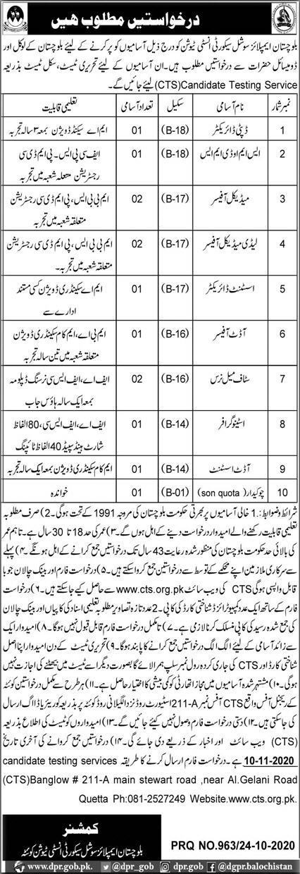 Balochistan Employees Social Security Institute Jobs via CTS