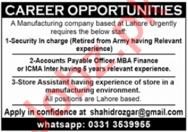 Accounts Payable Officer & Security Incharge Jobs 2020