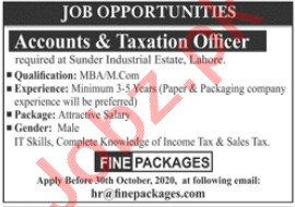 Fine Packages Lahore Jobs 2020 Accounts & Taxation Officer
