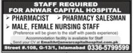 Anwar Capital Hospital Jobs 2020 in Islamabad