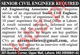 Senior Civil Engineer & Civil Engineer Jobs 2020 in Lahore