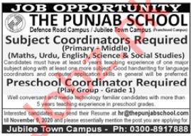 The Punjab School Jubilee Town Campus Lahore Jobs 2020