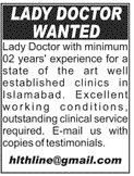 Lady Doctors Jobs 2020 For Clinics in Islamabad