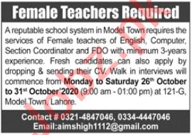 Aims High The School System Lahore Jobs 2020 Female Teachers