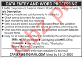 Data Entry Operator & Word Processor Jobs 2020 in Lahore