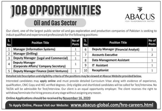 Abacus Global Jobs 2020 For Management Staff