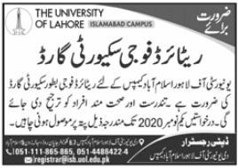 The University of Lahore Job 2020 in Islamabad Campus
