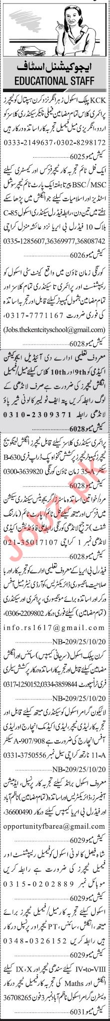 Jang Sunday Classified Ads 25 Oct 2020 for Educational Staff