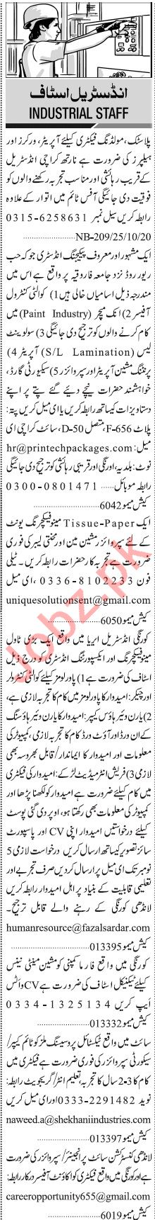 Jang Sunday Classified Ads 25 Oct 2020 for Industrial Staff