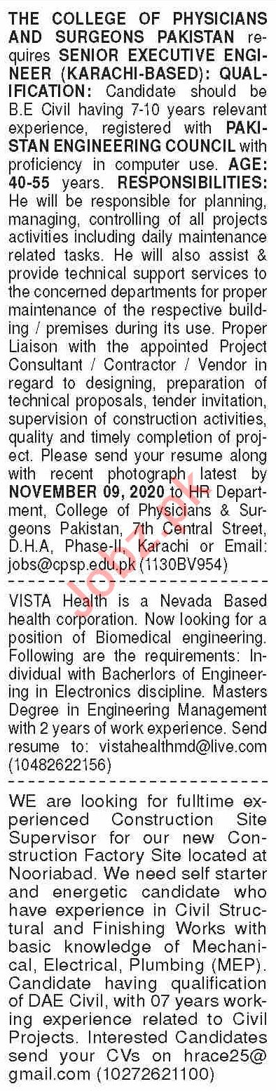 Dawn Sunday Classified Ads 25 Oct 2020 for Engineering Staff
