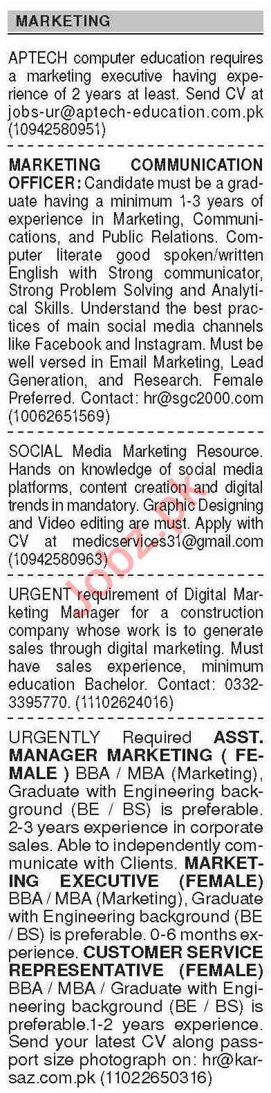 Dawn Sunday Classified Ads 25 Oct 2020 for Marketing Staff