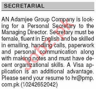 Dawn Sunday Classified Ads 25 Oct 2020 for Secretarial Staff