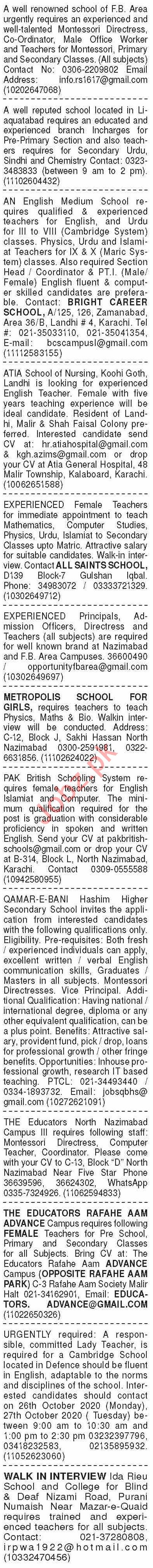 Dawn Sunday Classified Ads 25 Oct 2020 for Teaching Staff