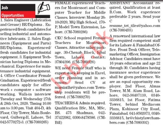 The News Sunday Lahore Classified Ads 25 Oct 2020
