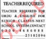 Dunya Sunday Classified Ads 25 Oct 2020 for Teaching Staff