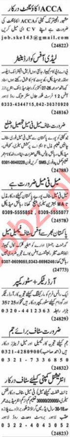 Nawaiwaqt Sunday Classified Ads 25 Oct 2020 for Office Staff