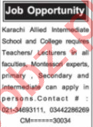 Nawaiwaqt Sunday Karachi Classified Ads 25 Oct 2020