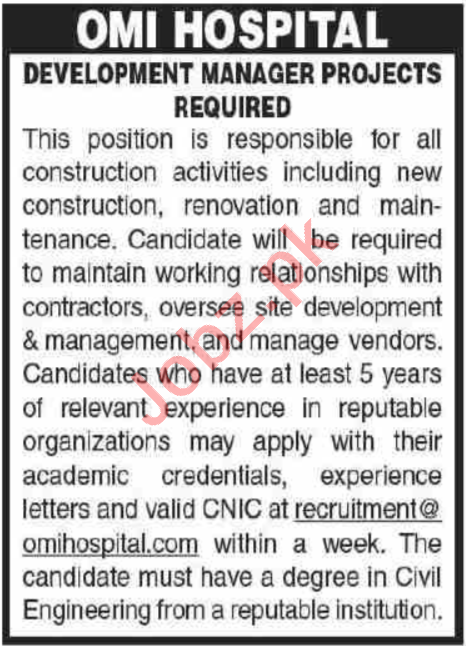 Development Manager Projects Jobs 2020 in OMI Hospital