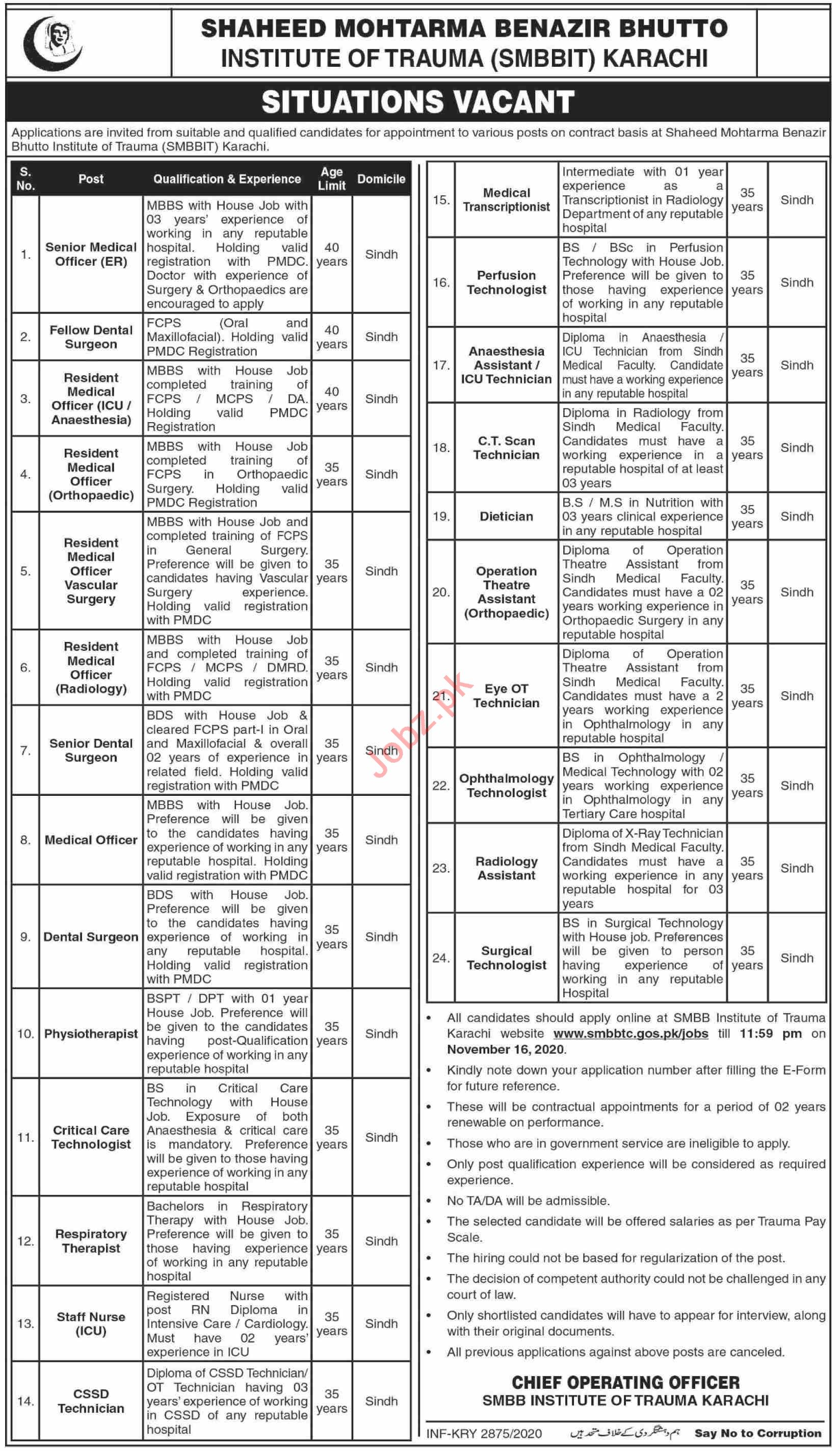 SMBB Institute of Trauma Jobs 2020 for Medical Officers