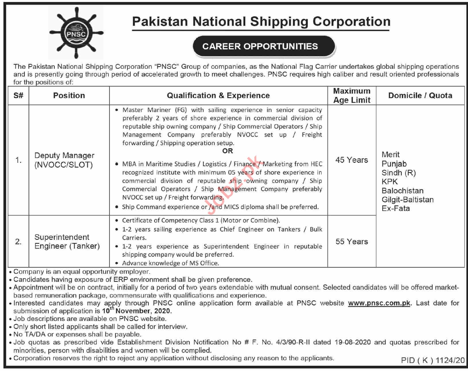 Pakistan National Shipping Corporation PNSC Karachi Jobs