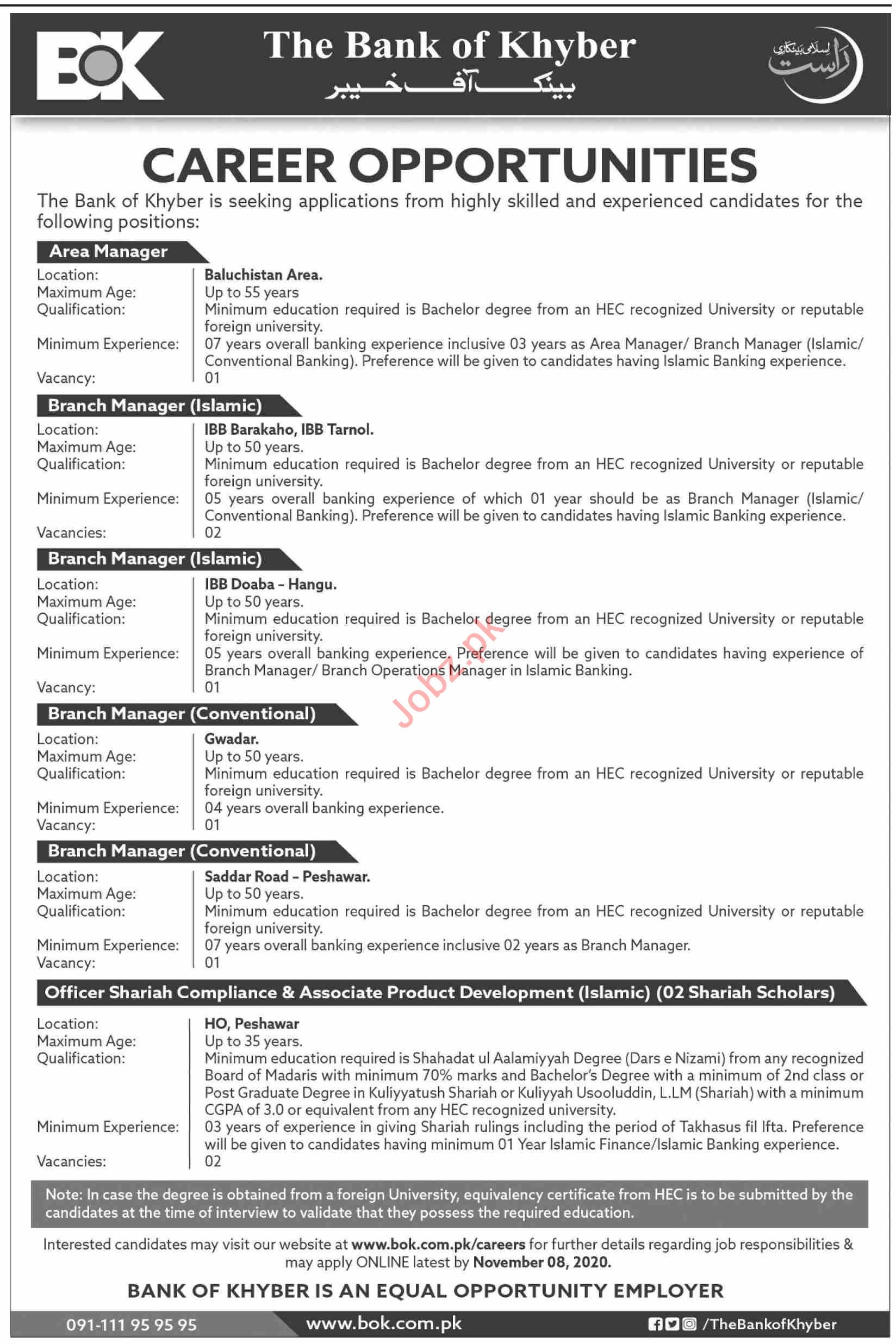The Bank of Khyber BOK Jobs 2020 for Area Manager