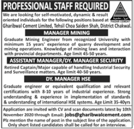 Gharibwal Cement Limited Jobs 2020 For Chakwal