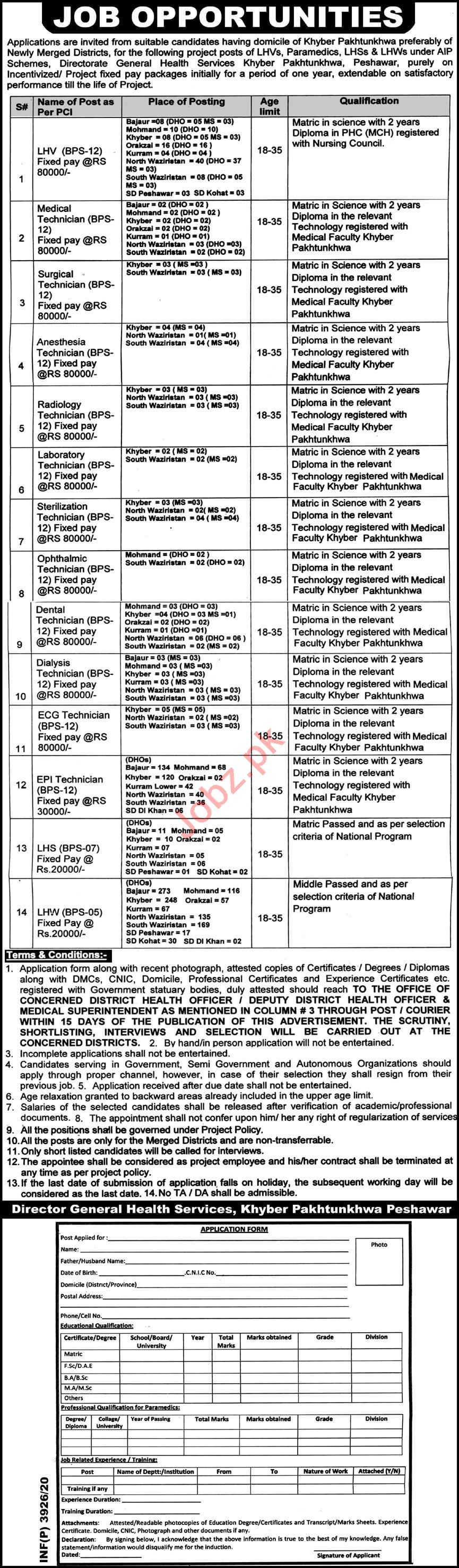 Health Department Newly Merged Districts KPK Jobs 2020